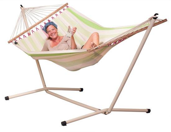Hangmatset: 2-persoons hangmat met spreidstok COLADA kiwi + Standaard voor 2-persoons hangmat  NEPTUNO