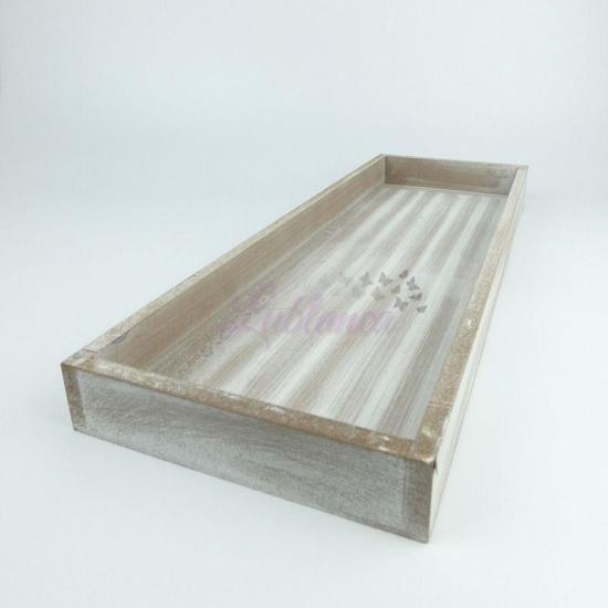 Wooden Tray | Antique Grey 14 X 40cm | 2 stuks