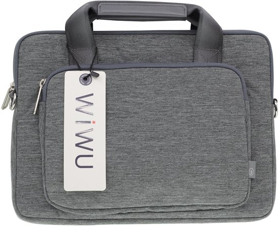 Canvas Business Handbag Shoulder Voor Laptop Tot 17 Inch Grijs