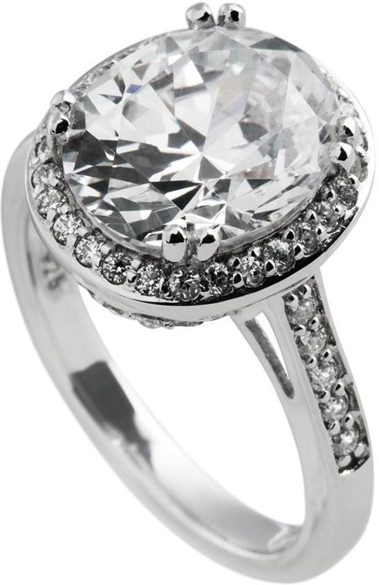 87d6f646de2 Diamonfire - Zilveren ring met steen Maat 17.0 - Ovaal - Bezette band