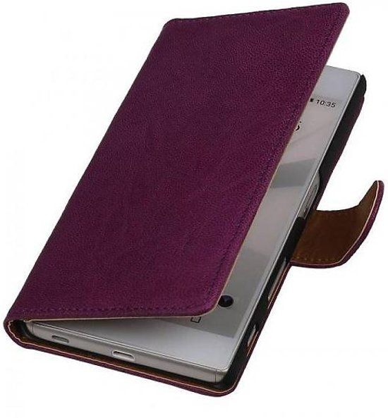 Mobieletelefoonhoesje.nl - Nokia Lumia 800 Hoesje Washed Leer Bookstyle Paars in Kruiningergors