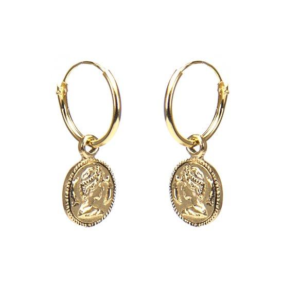 Karma Hoops Coin M1969 Oorringen - Goldplated