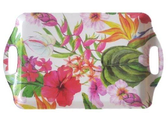 Dienblad met bloemetjes motief - Multicolor - Kunststof - 38 x 23 cm