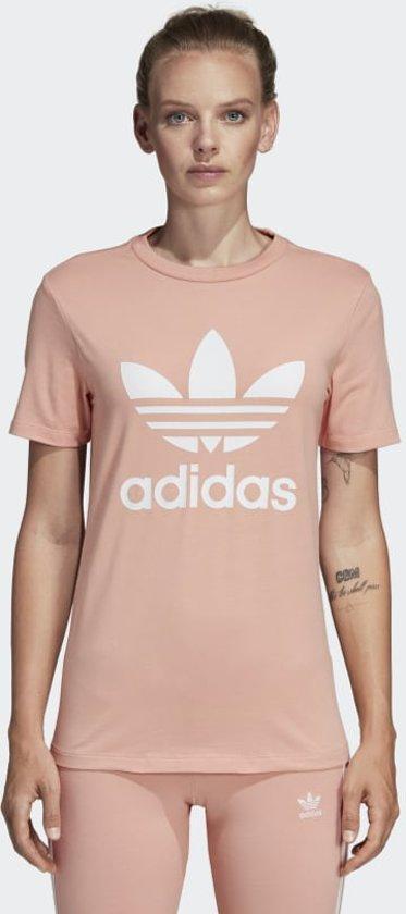 adidas Trefoil Tee Dames Shirt - Dust Pink - Maat 32