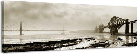 Bruggen in de mist - Canvas Schilderij Panorama 118 x 36 cm
