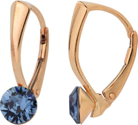 ARLIZI 1276 Oorbellen Swarovski Kristal - Dames - 925 Zilver Roséverguld - 6 mm - Blauw
