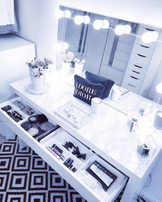 by Davids® - Hollywood Spiegel lampen - Spiegelverlichting - badkamer spiegel verlichting - Make up spiegellampen - USB-connector, dimmer, 3M stickers.