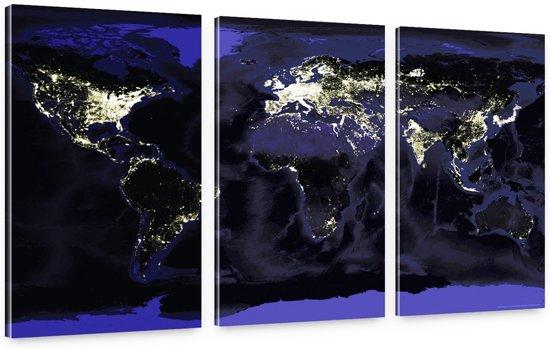Wanddecoratie Met Licht : Bol schilderij licht van de aarde wereldkaart bij nacht