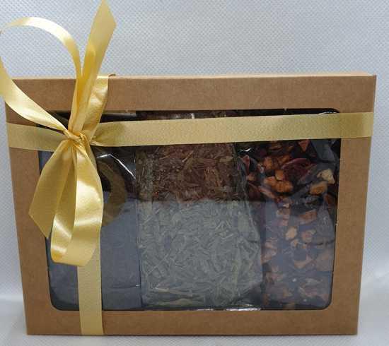 Herfstthee cadeaupakket| 3x25 gram losse thee|Kersen-Amaretto|Sencha|Kokos