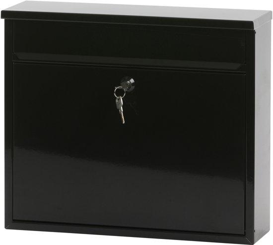 Stalen brievenbus zwart - 11x36x31,5 cm