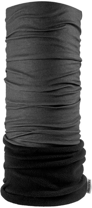 Poederbaas nekwarmer in donkergrijs antraciet met fleece