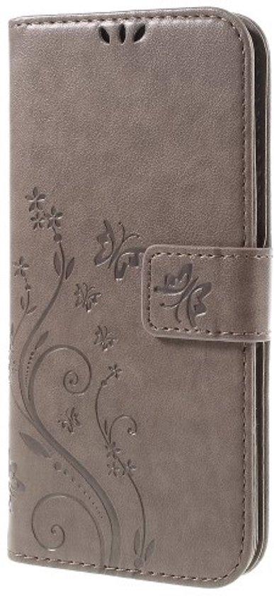 Book Case Hoesje Bloemen Samsung Galaxy S7 Edge - Grijs