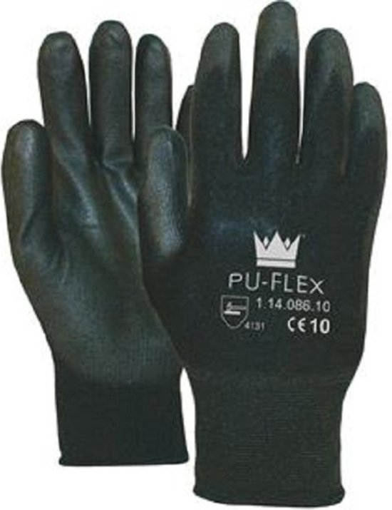 Pu-Flex Werkhandschoenen Zwart 11408600 - 2 paar maat 8/M