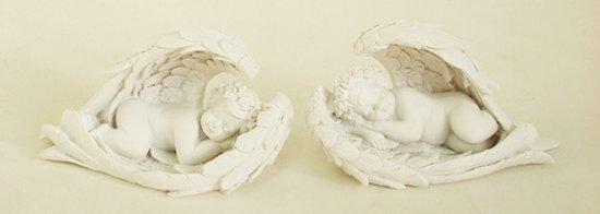 Beeld - Engel - Cherubijn - slapend in vleugels - 9,5 cm