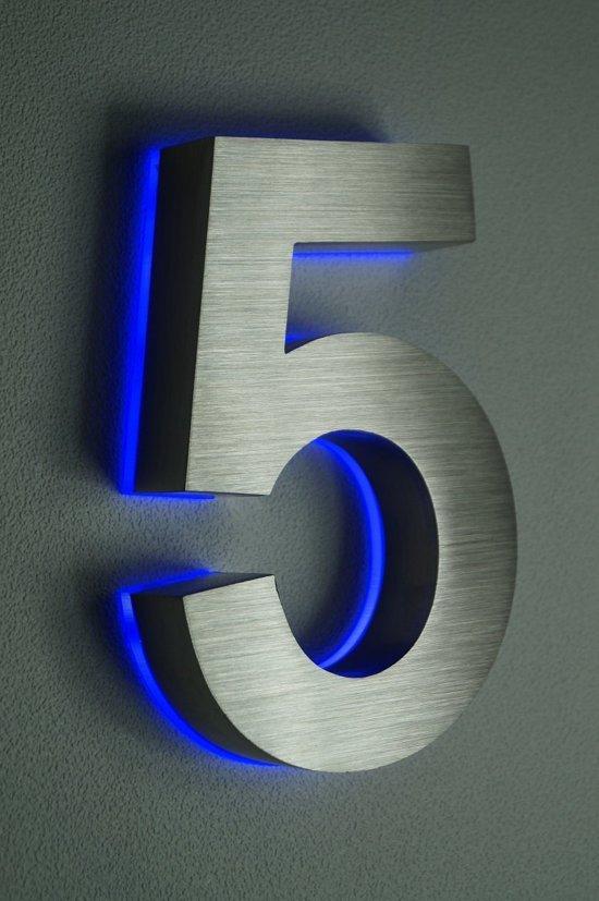 huisnummer met led verlichting van rvs hoogte 20cm nummer 5. Black Bedroom Furniture Sets. Home Design Ideas