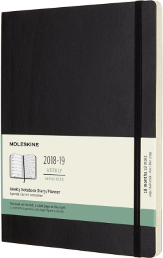 Moleskine - 18 Months - Weekly - 2018/2019 - Extra Large - Black - Soft Cover