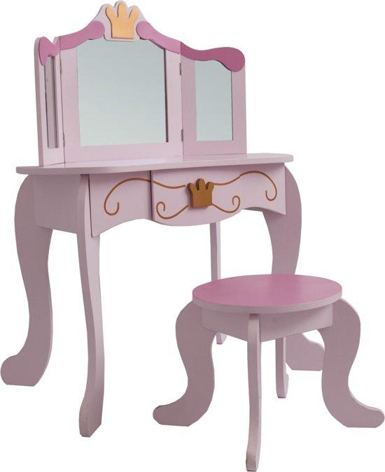 Kaptafel Met Spiegel Knutselen.Kaptafel Make Up Visagie Tafel Prinses Meisje Met Spiegel En Krukje Roze