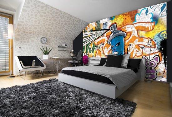 Fotobehang Papier Graffiti | Oranje, Blauw | 368x254cm