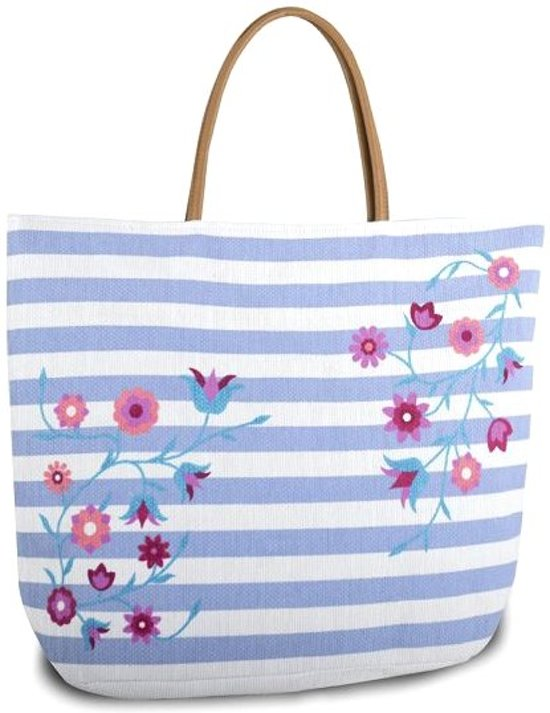 Luna Cove Summer Flowers Strandtas Shopper Canvas Gestreept