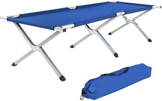2x TecTake veldbed - 2 stuks xl veldbed 190 cm - blauw - 402002