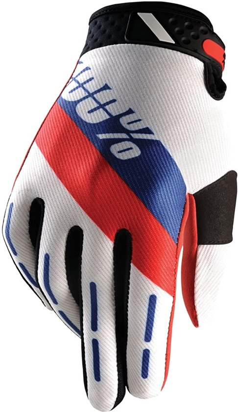 100% Ridefit Honor fietshandschoenen Heren rood/wit Maat M