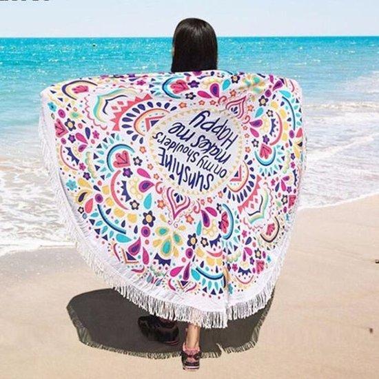 1383909001d Beach roundie Sunshine|Badstof Microfiber|Rond strandlaken|Ibiza ronde  handdoek|Blauw roze