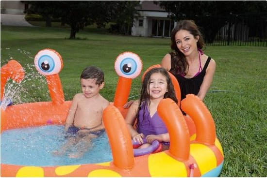 Bestway kinderzwembad Spraypool Krab 165 x 150 x 63 cm rood