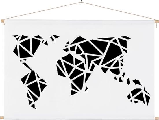 Wereldkaart zwart wit - kunst - artistiek - schoolplaat 60x40 cm ronde stokken - Textielposter