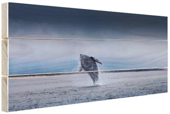 Brede foto van springende walvis Hout 80x60 cm - Foto print op Hout (Wanddecoratie)