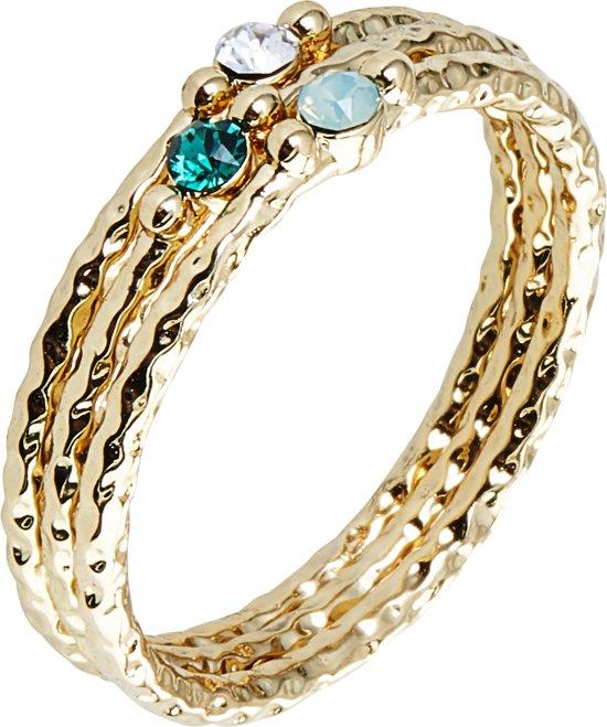Orelia ringen met kleine steentjes - 3pck - Gold Plated - 1,6 cm