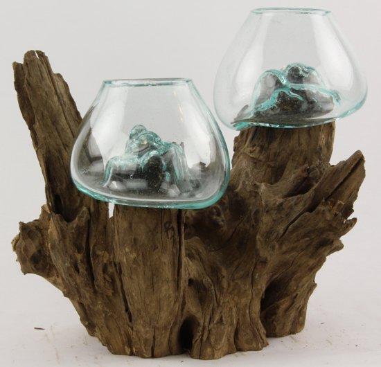 Decoratie hout met 2 glazen kommetjes erop - Decoratie afbeelding ...
