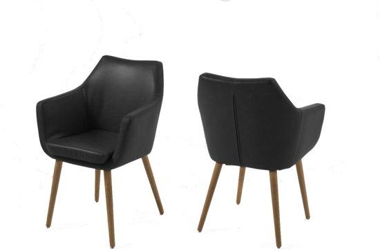 Bol fyn noortje stoel met armleuning lederlook vintage zwart