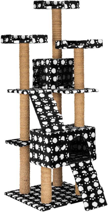 TecTake - krabpaal Goran - 169 cm hoog - zwart met pootafdruk - 402196