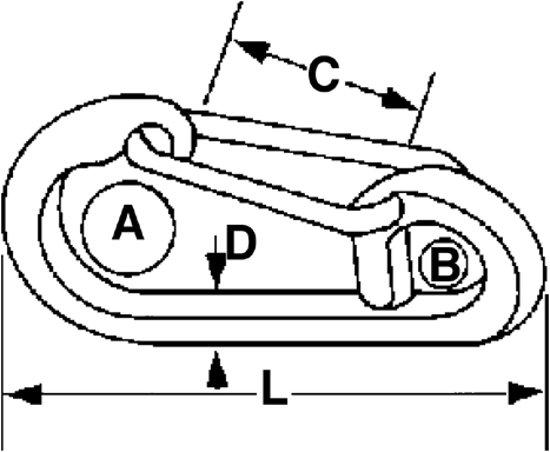 Talamex ovalen Karabijnhaak met oog 122mm