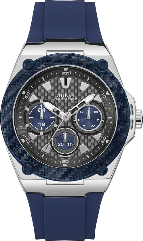 GUESS Watches -  W1049G1 -  Horloge -  Mannen -  RVS - Blauw -  45  mm