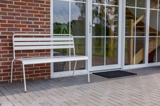 MaximaVida metalen tuinbank Max wit 120 cm- stapelbaar