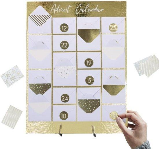 Advent Kalender Mini Envelop - Goudfolie op Standaard - Gold Christmas - Ginger Ray (1st) Valentinaa