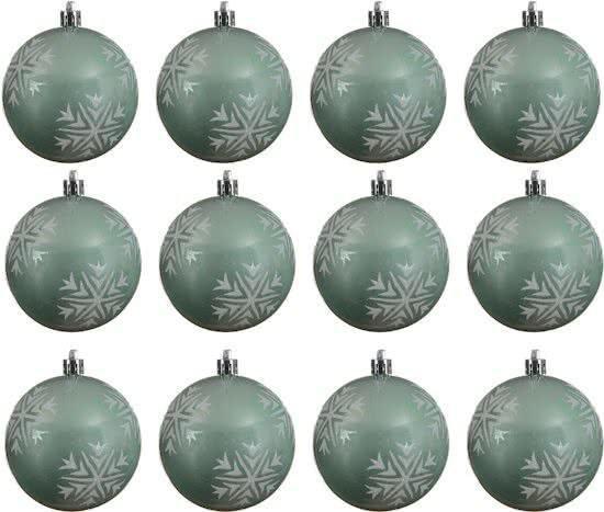 Bol Com Kerstballen Sneeuwvlok 8cm Box 12 Stuks Eucalyptus