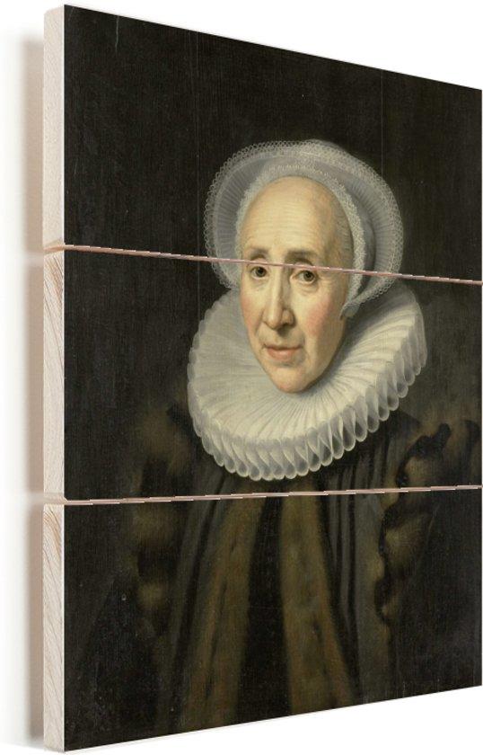 Portret van Volckera Claesdr Knobbert - Schilderij van Michiel Jansz van Mierevelt Vurenhout met planken 120x160 cm - Foto print op Hout (Wanddecoratie) XXL / Groot formaat!