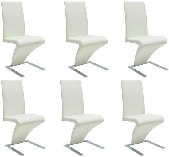 6 Eetkamer Stoelen Wit.Vidaxl Eetkamerstoelen Met Zigzag Kunstleer Wit 6 St
