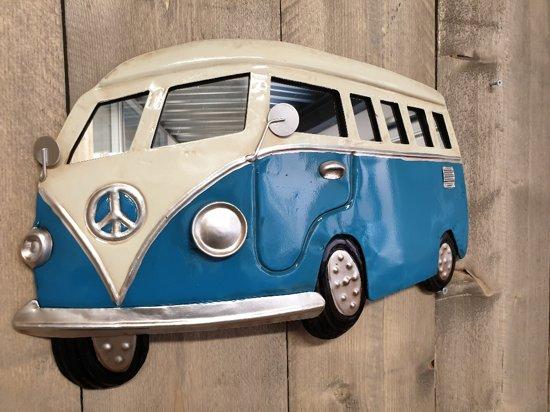 Wandbord vintage retro volkswagenbus blauw