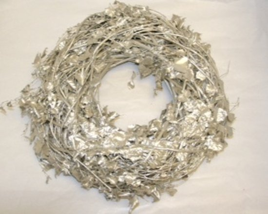 Krans - Herfstkrans - Kerstkrans - Berkenblad - Platina - Wit - White wash