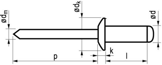 Popnagel Alu/Stl 1031 5X21mm 250