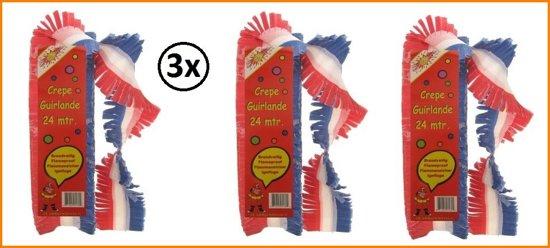 3x Crepe guirlande bedrukt rood/wit/blauw 24m brandveilig