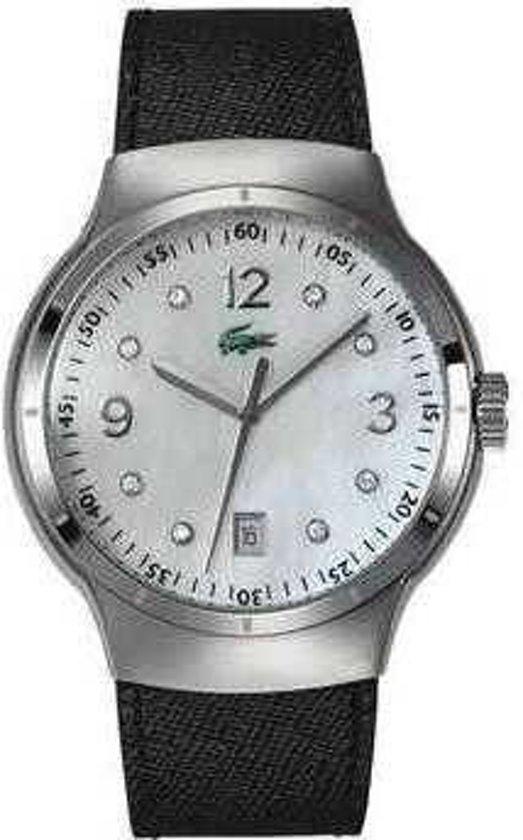 Lacoste horlogeband 2000374 / LC-09-3-14-0060 Leder Zwart 21mm + zwart stiksel
