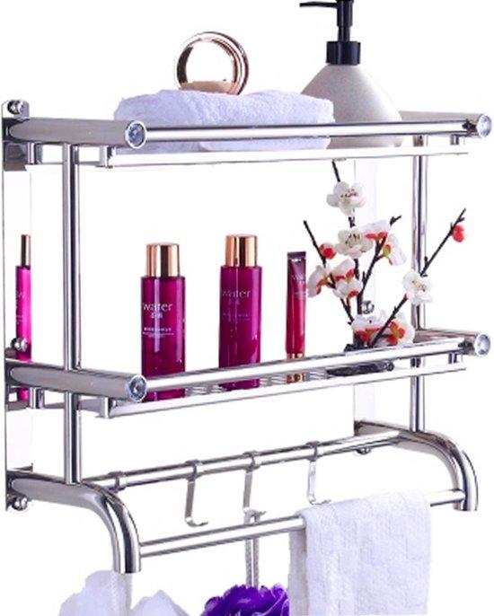 Luxe Doucherek Voor In de Badkamer, RVS Handdoekenrek Met 3 Lagen