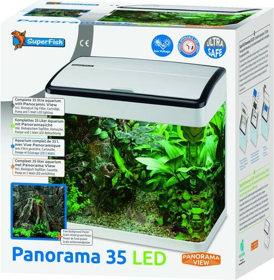 Beste bol.com | Superfish Panorama 35 LED Aquarium - 35 L - Wit - 38 x MC-08