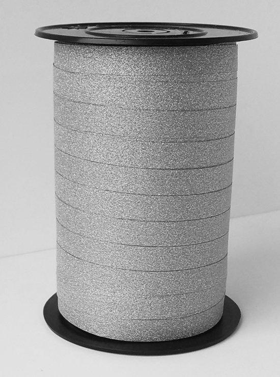 Krullint Lido Glitter Zilver 10mm x 100 meter (1 rol)