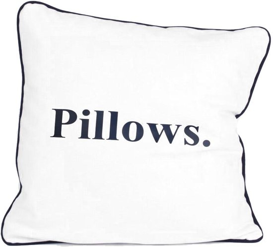 Sierkussen 45x45cm - Indigo Island Amsterdam - ''Pillows'' - wit, blauw met piping - Dons
