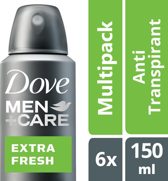 Dove Men+Care Extra Fresh Deodorant - 6 x 150 ml - Voordeelverpakking